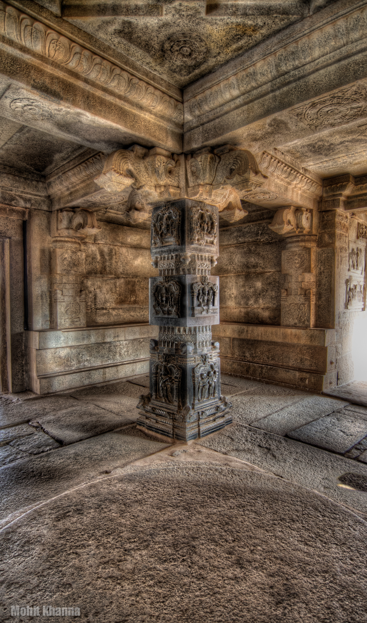 Photo: Black marble pillar within a temple