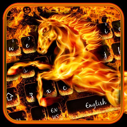 Hell Burning Fire Horse Keyboard Theme