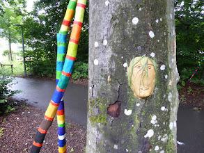 Photo: Tongesichter und bunte Wanderstöcke laden zur Entdeckung im Wald ein Montford Gymnasium Schüler mit den Lehrern Bregitte Messmer und Jens Gebhard