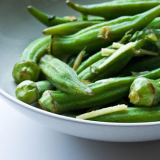 Okra with Scallion, Lemon and Ginger