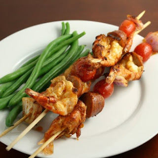 Grilled Shrimp and Sausage Skewers with Dirty Rice.