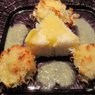 Coconut Encrusted Scallops with Banana Colada Sauce.