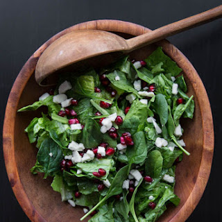 Spinach Pomegranate and Feta Salad with Pomegranate Balsamic Vinaigrette.