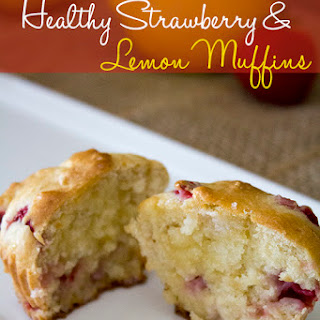 Healthy Strawberry and Lemon Muffins.