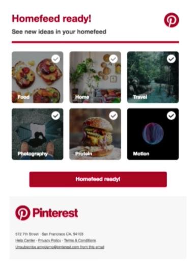 email and AMP Pinterest homefeed ready