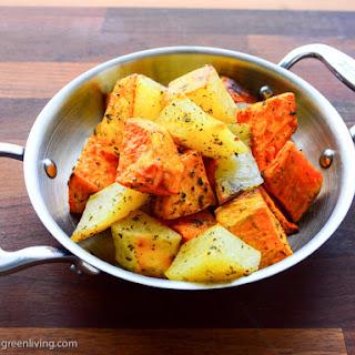 Roasted Sweet Potatoes and White Potatoes.
