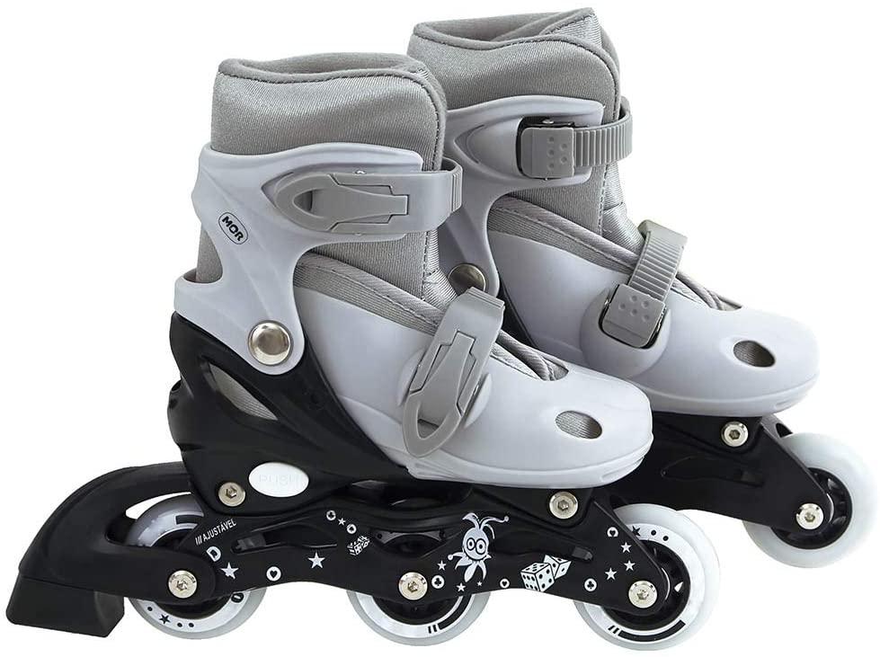 Patins na cor cinza e com 3 rodinhas enfileiradas, na cor branca. Presente de Dia das crianças indicado para número de calçado que vai do 30 ao 33.