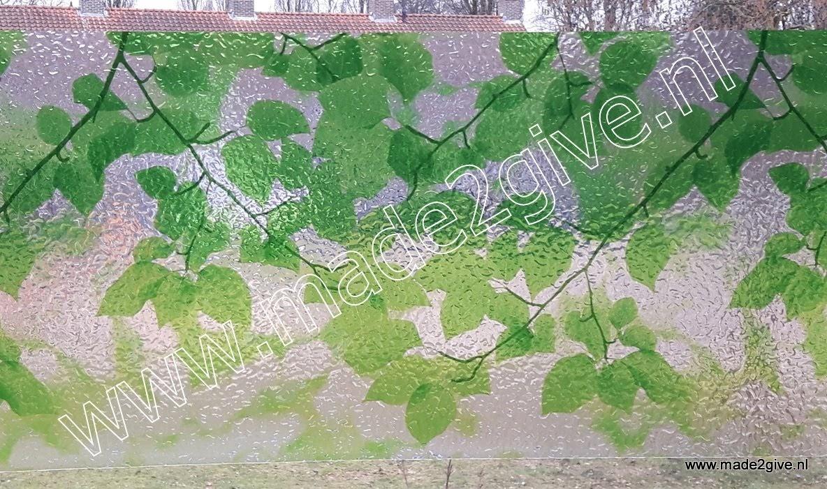 Raamfolie groene bladmotieven