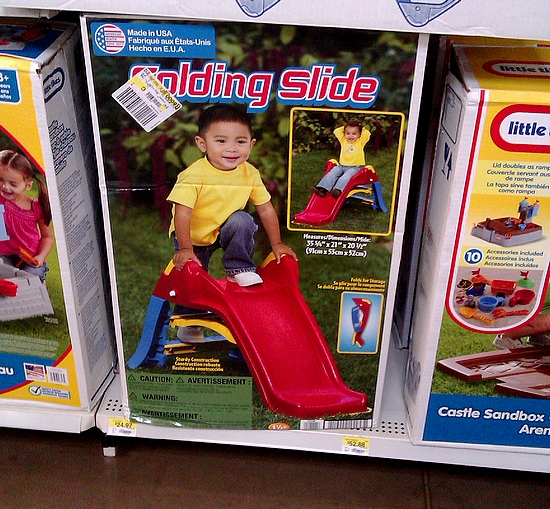 Photo: My son just learned how to slide down the slide at the local park a few days ago. I think he would love to have his own little slide but I may need a mat to go along with it! I am still debating getting this!