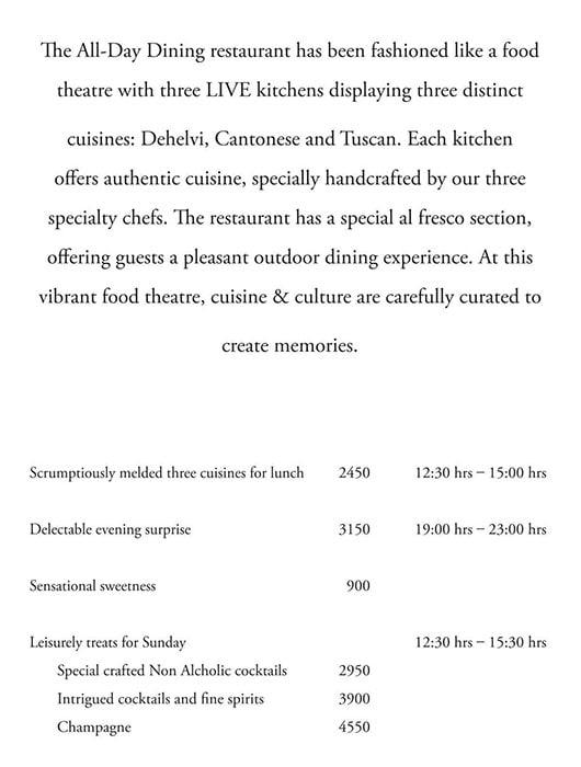 K3 - JW Marriott menu 1