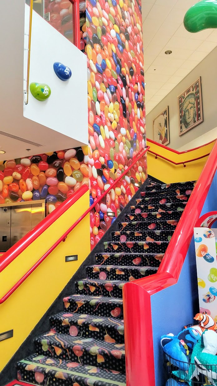 Jelly Belly Factory Tour in Fairfield, California- stairway leading to factory tour area