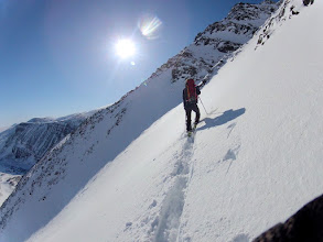 Photo: Entering Tuolpagorni's couloir, about 38 degrees steep.