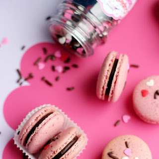 Dark Chocolate Raspberry Macarons
