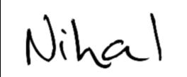 Autographe de Nihal - signature non officielle