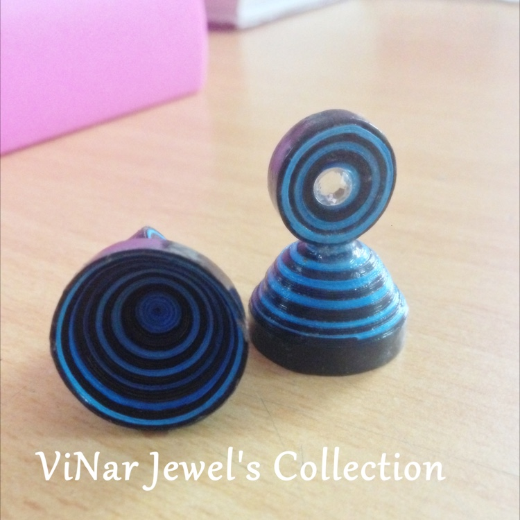 Quilled Jhumkas Blue & black