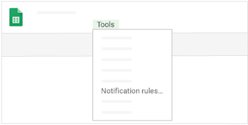 "In a sheet, find the ""Notification rules"" option in the menu under ""Tools"""
