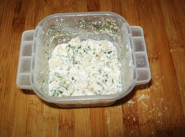 Put the ½ & ½ in a bowl, and then add the dry seasonings:...
