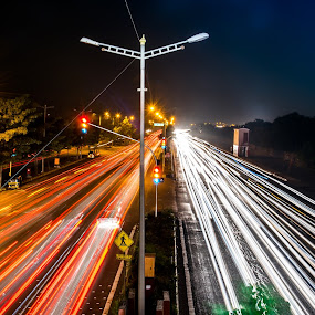 Long exposure by Ketan Kunte - City,  Street & Park  Street Scenes ( mumbai, highway, light trails, long exposure, india, vehicles, trails, roads, city )
