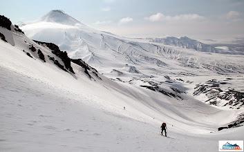 Photo: Uphilling in the lower slopes of volcano Koryaksky, volcano Avachinsky in the background