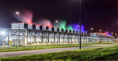 Colored cooling towers