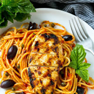 Pasta Puttanesca with Chicken.