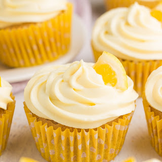 Healthy Lemon Cupcakes with Lemon Frosting.