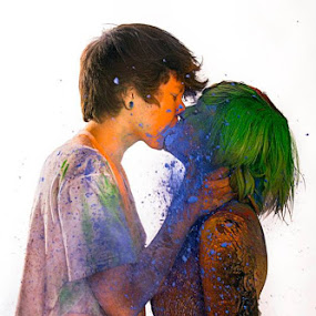 Love comes in all flavors.  by Amelia Falk - People Couples ( studio, pride, orange, red, blue, gay, green, paint, fun, connections, party, rainbow,  )