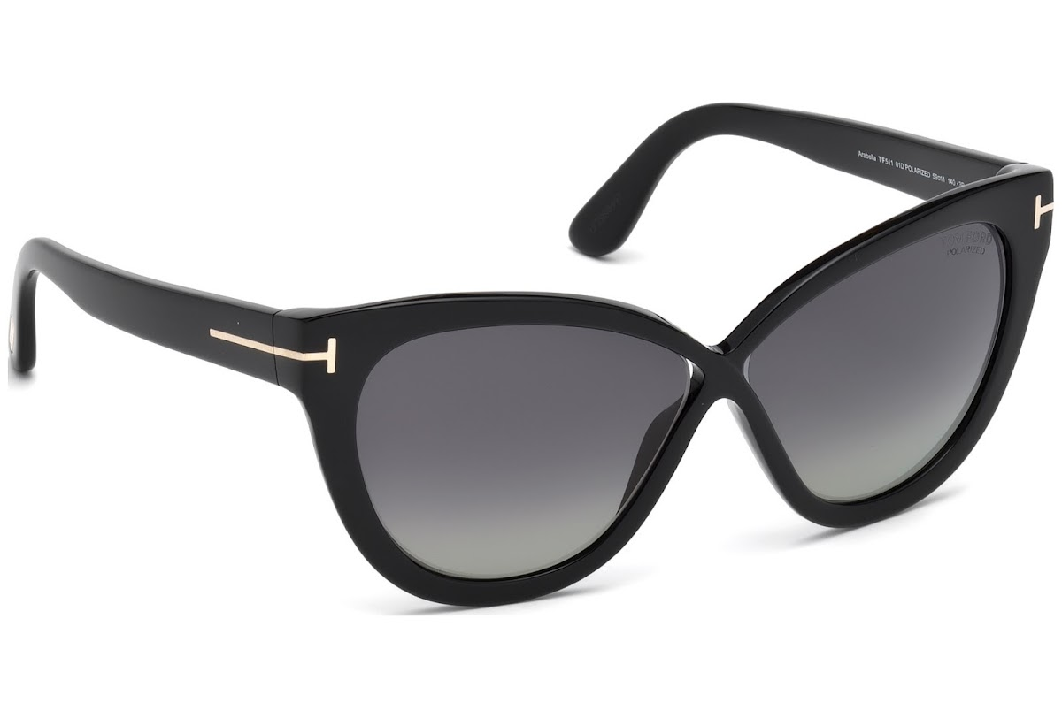56a98b6629 Polarized Sunglasses Tom Ford Arabella FT0511 C59 01D (shiny black   smoke  polarized)