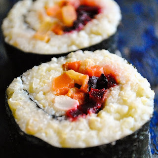 Vegan Millet Sushi with Roasted Root Vegetables and Broccoli Cream Recipe