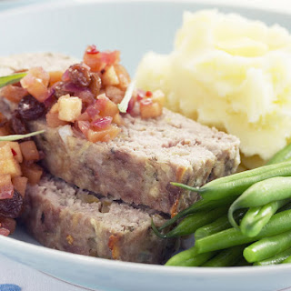 Pork and Veal Meatloaf with Spicy Apple Relish.