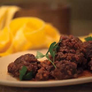 PEPOSO DI CINGHIALE ALLA TOSCANA (Wild Boar Stew with Pappardelle)