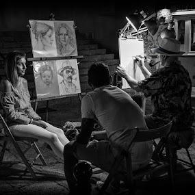 The Artist by Katherine Rynor - People Street & Candids ( drawings, woman, men, artist, drawing,  )