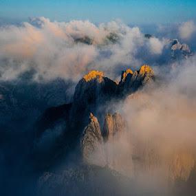 Tetth in the Clouds by Dejan Dajković - Landscapes Mountains & Hills ( clouds, mountain, peak, morning, peaks )