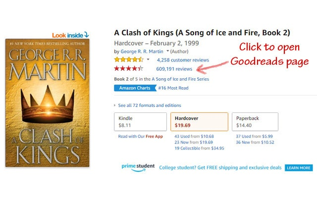 Goodreads ratings for Amazon