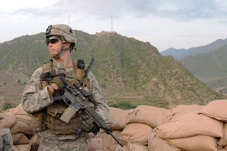 Photo: U.S. Army Spc. Anthony M. Denuzzia of Valdosta, Ga., a forward observer with Company A, 2nd Battalion, 327th Infantry Regiment, Task Force No Slack, stands watch at Observation Post Coleman. The post is a historical fort that provides over watch for Combat Outpost Monti in eastern Afghanistan's Kunar Province. (Photo by U.S. Army Staff Sgt. Gary A. Witte, 300th Mobile Public Affairs Detachment)