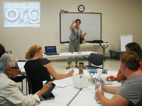 Photo: HandsOn Tech Silicon Valley recruited skill-based volunteer Elyse Tager from Constant Contact to lead a training on how nonprofits can use social media to communicate their mission.