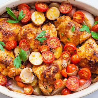 One-Pan Paprika Chicken with Potatoes and Tomatoes.
