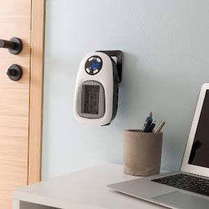 Aeroterma 500 W cu timer, LED, ceramica, alb/negru