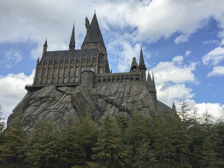 grey, brown, castle photography, hogwarts, castle, harry potter, osaka,  universal studios, sky, cloud - sky   Pxfuel