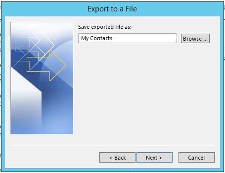 Outlook contacts export destination