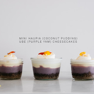 Ka'ana Kitchen's Mini Haupia (Coconut Pudding) Ube (Purple Sweet Potato) Cheesecake