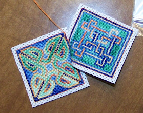 Photo: Completed 6 March 2009. Ink Circles freebies stitched on Aida with discontinued DMC. Stitch count: 39w x 39h each.