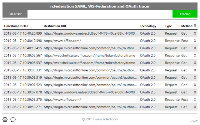 SAML, WS-Federation and OAuth 2.0 tracer