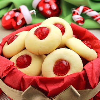 Holiday Maraschino Cherry Shortbread Cookies.