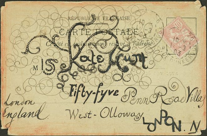 <p> <br /> <strong>L&eacute;on Coupey<br /> To Miss Kate Hunt (London</strong>)<br /> Ink on card<br /> 3 &frac12;&quot; x 5 &frac12;&quot;<br /> 1903</p> <p> Collection Joy Coupey, Toronto<br /> Set 6.1&nbsp;</p>
