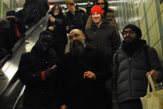 Photo: Mohammad Mahjoub and supporters preparing to board the subway in Toronto.