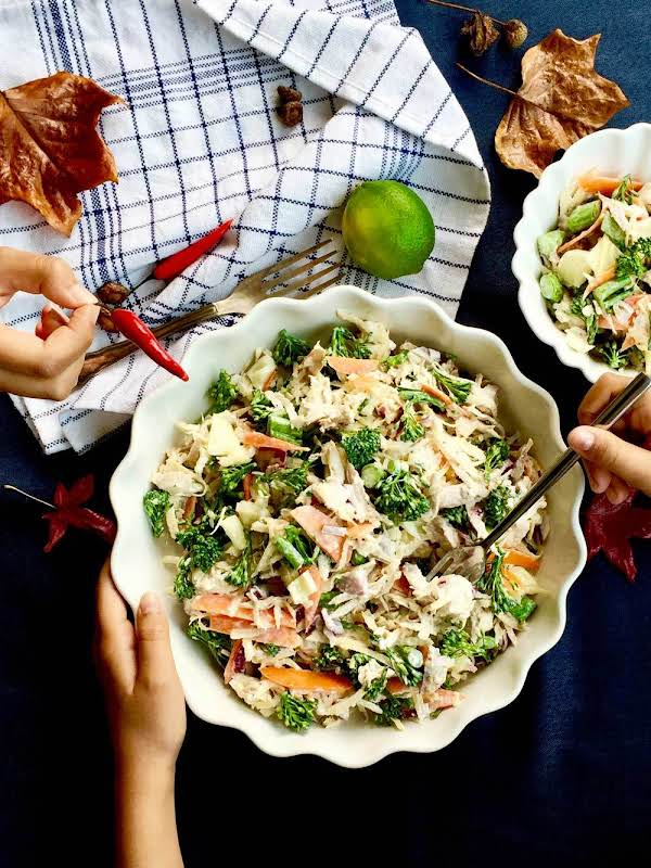 This Super Healthy Beauty Swede, Raw Broccolini And Roast Chicken Salad Is An Absolutely Delicious.