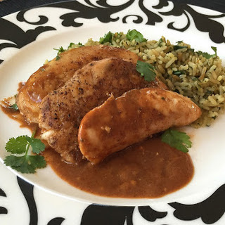 Low-Point Pan-Seared Chicken with Spiced Mole Sauce.