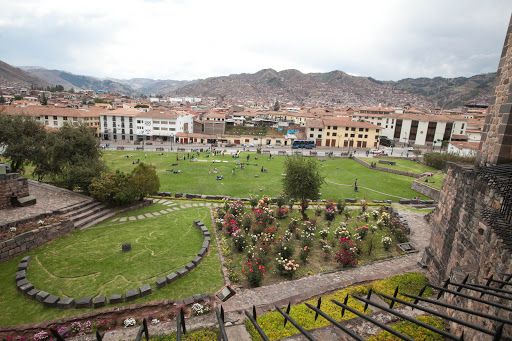 View of the gardens from inside the Koricancha complex in Cusco, Peru.
