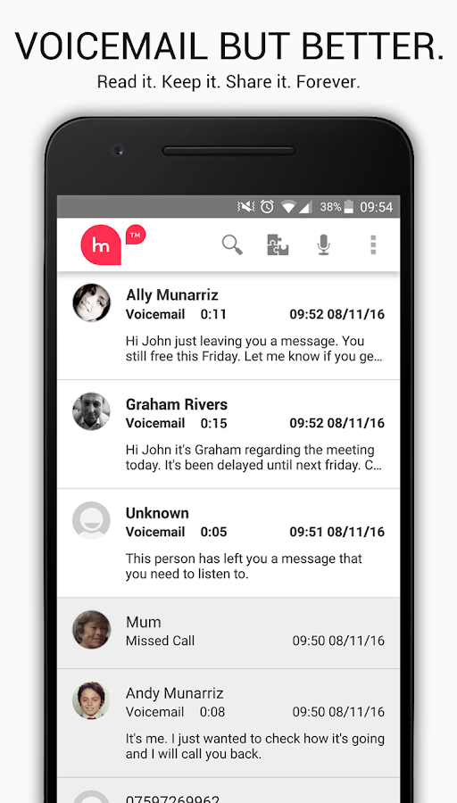 HulloMail Smart Voicemail- screenshot